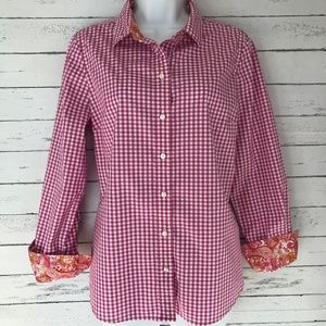 Robert Graham Pink and White Gingham Button Down